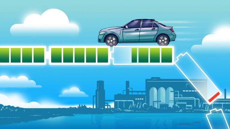 illustration of a car drives on a battery-level reading, with a used battery falling off on the right from the article Can Ontario boost EV battery recycling before it's too late?