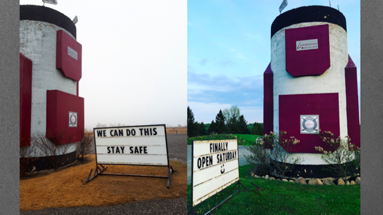 """two photos of a giant golf bag, one with sign reading """"we can do this—stay safe"""" and the other with a sign reading """"finally open Saturday"""""""