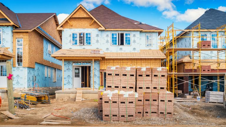 a row of houses under construction