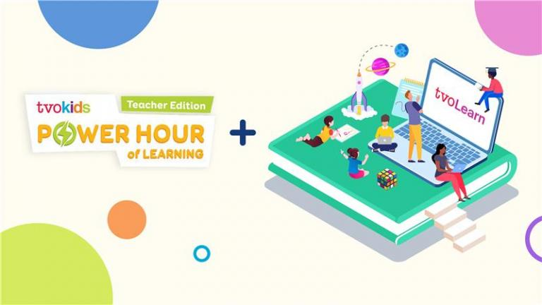TVOkids power hour of learning logo + and graphic of people on a large book looking at laptop with TVO Learn logo on screen