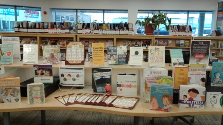 a collection of children's book on display