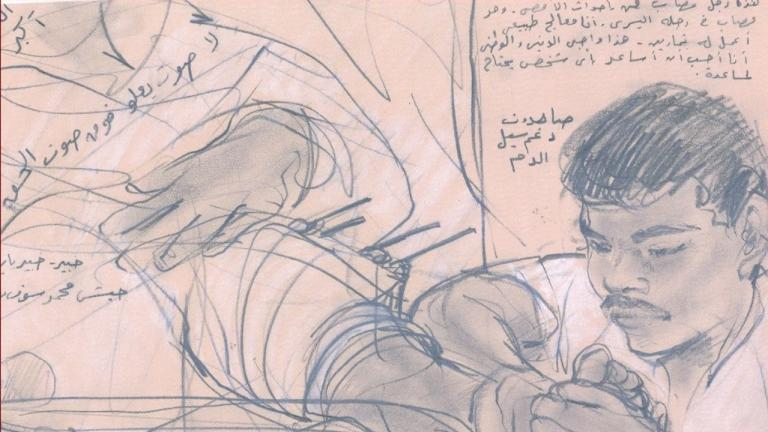 drawing showing man tending to injured person from the article Peterborough to Gaza: How a chance talk led to a 30-year friendship