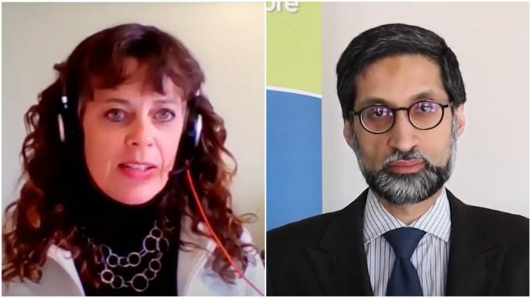 Side-by-side photos of a long-haired woman wearing headphones and a suited man in glasses from the article No consultation: Two public-health units respond to Ontario's postal-code hot spots