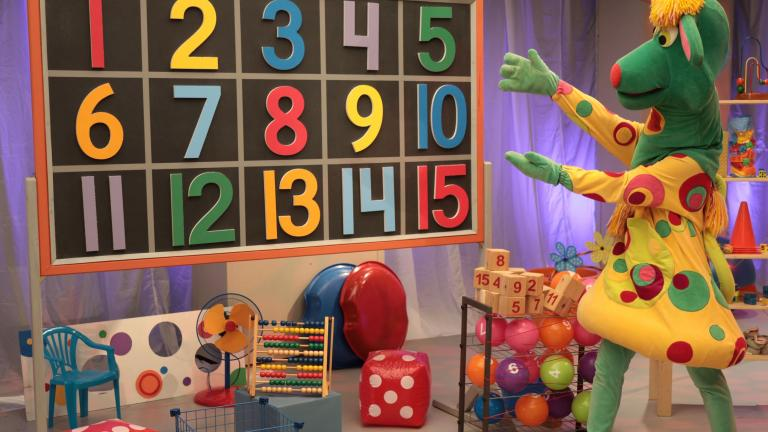 TVO character Polkaroo with a number-counting board