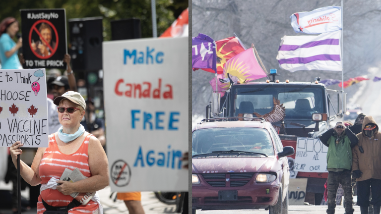 side-by-side photos of two different protests from the article In Canada, only certain people are allowed to be angry