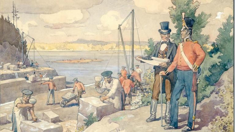 painting of men in uniform surveying workers by a body of water