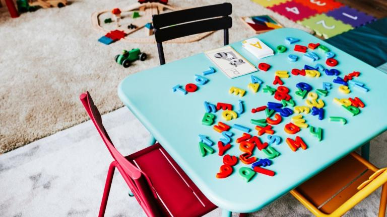 Table in elementary school covered in magnetic letters