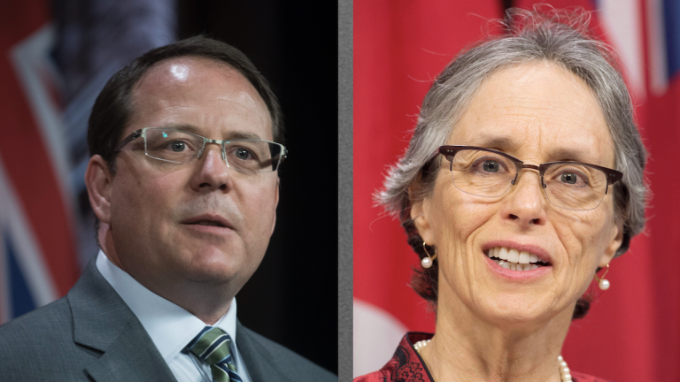 left: man in glasses and a suit. right: smiling woman wearing glasses from the article The Green party's big gamble on climate policy