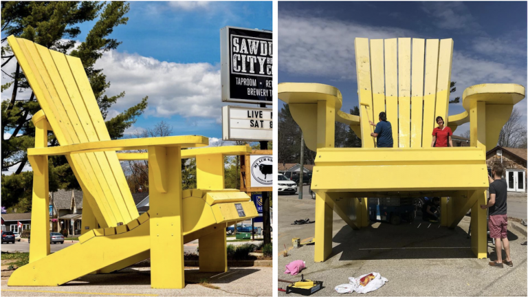 two photos of a large yellow chair