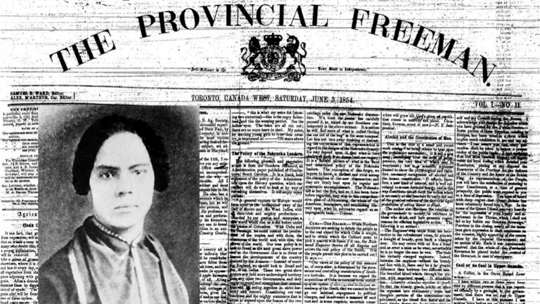 portrait of a woman set against a newspaper from the article How North America's first Black female publisher saw the 'road to independence'