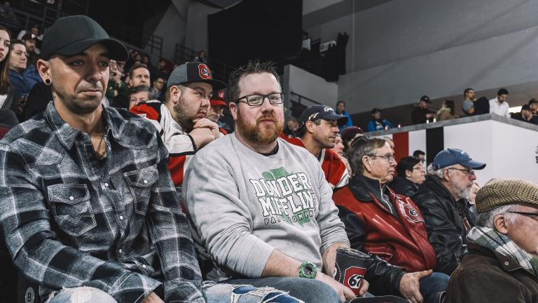 people watching a hockey game in an arena