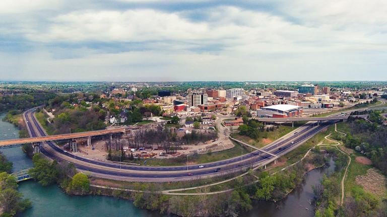 aerial view of a city near a lake from the article Inside Niagara's affordable-housing crisis
