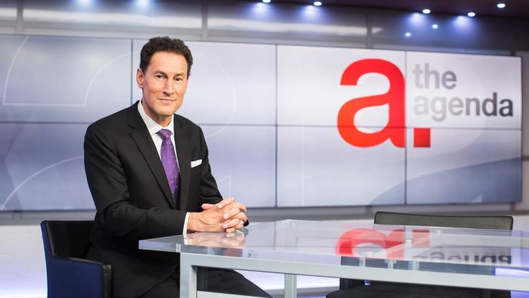 Steve Paikin on set of TV show The Agenda