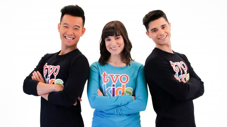 TVOkids hosts Greg Liow, Laura Commisso, and Lucas Meeuse.