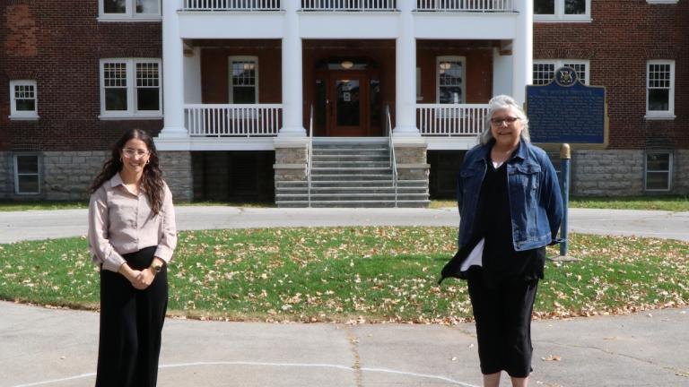 two women stand outside a building from the article 'Reclaiming the space': Celebrating First Nations cultures at a former residential school