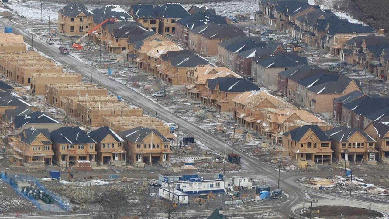 a subdivision under construction in Ontario