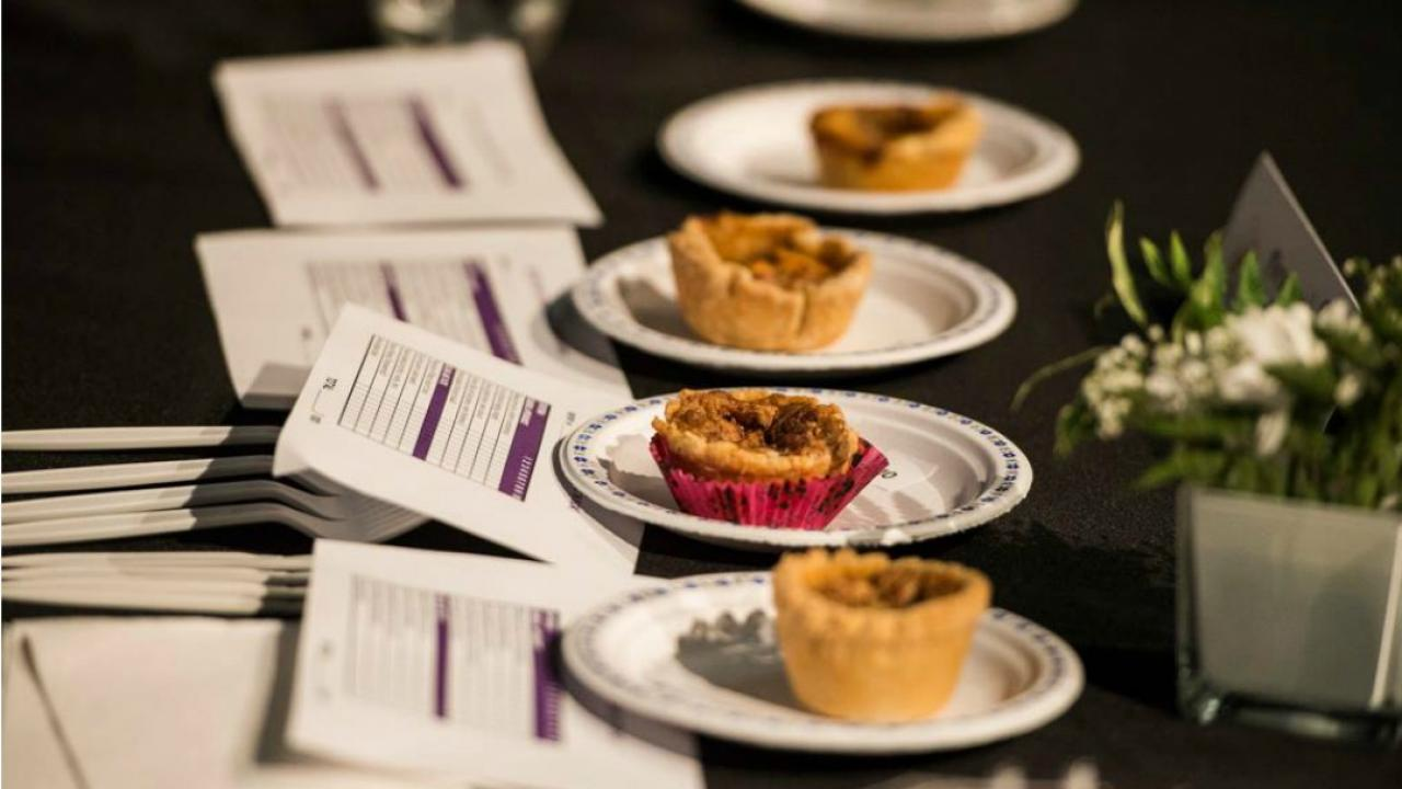 butter tarts lined up in a competition