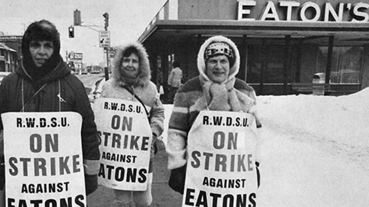 archival photo of striking Eaton's workers