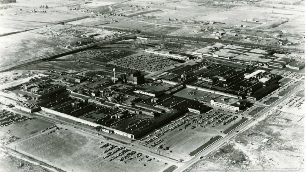 an aerial view of the Oshawa GM plant