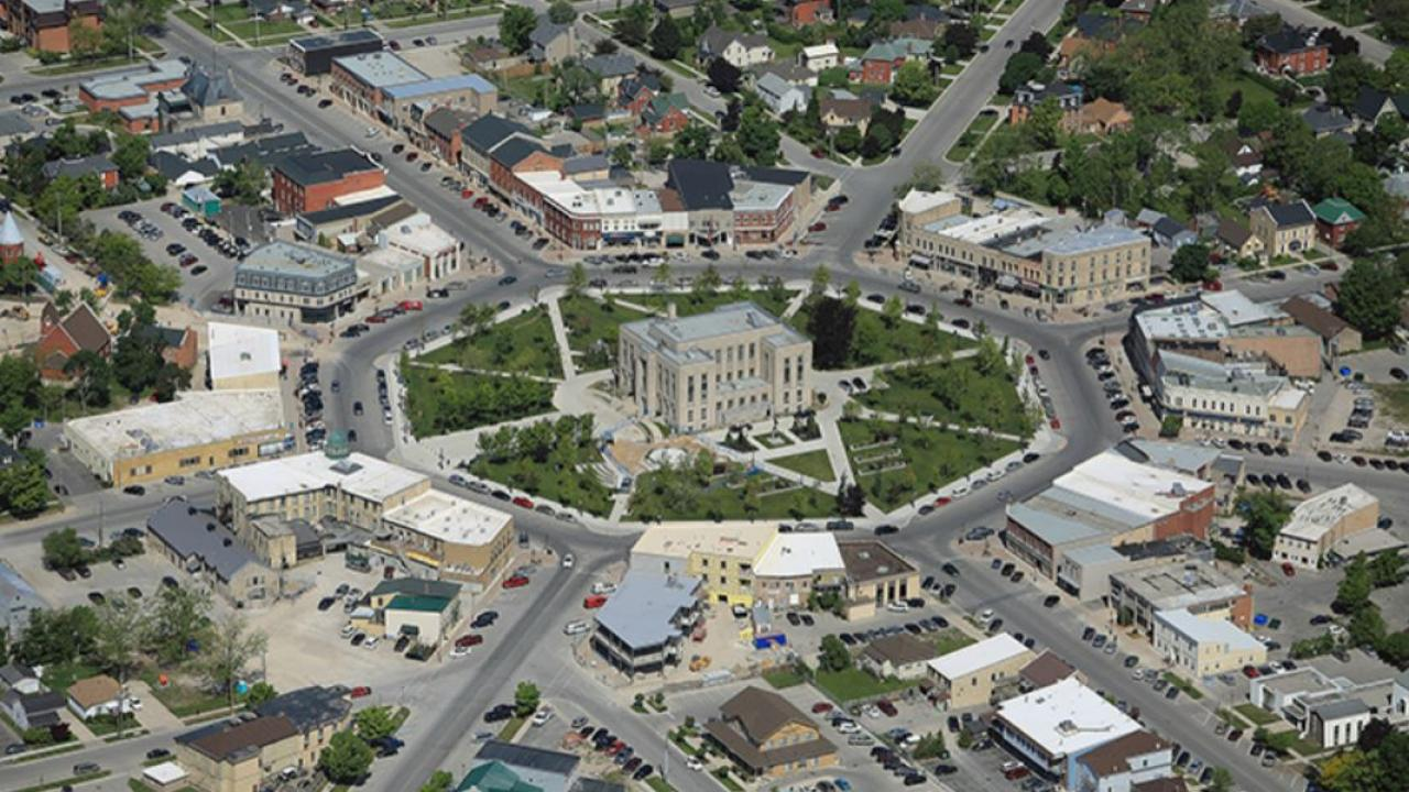 aerial view of Goderich, Ontario