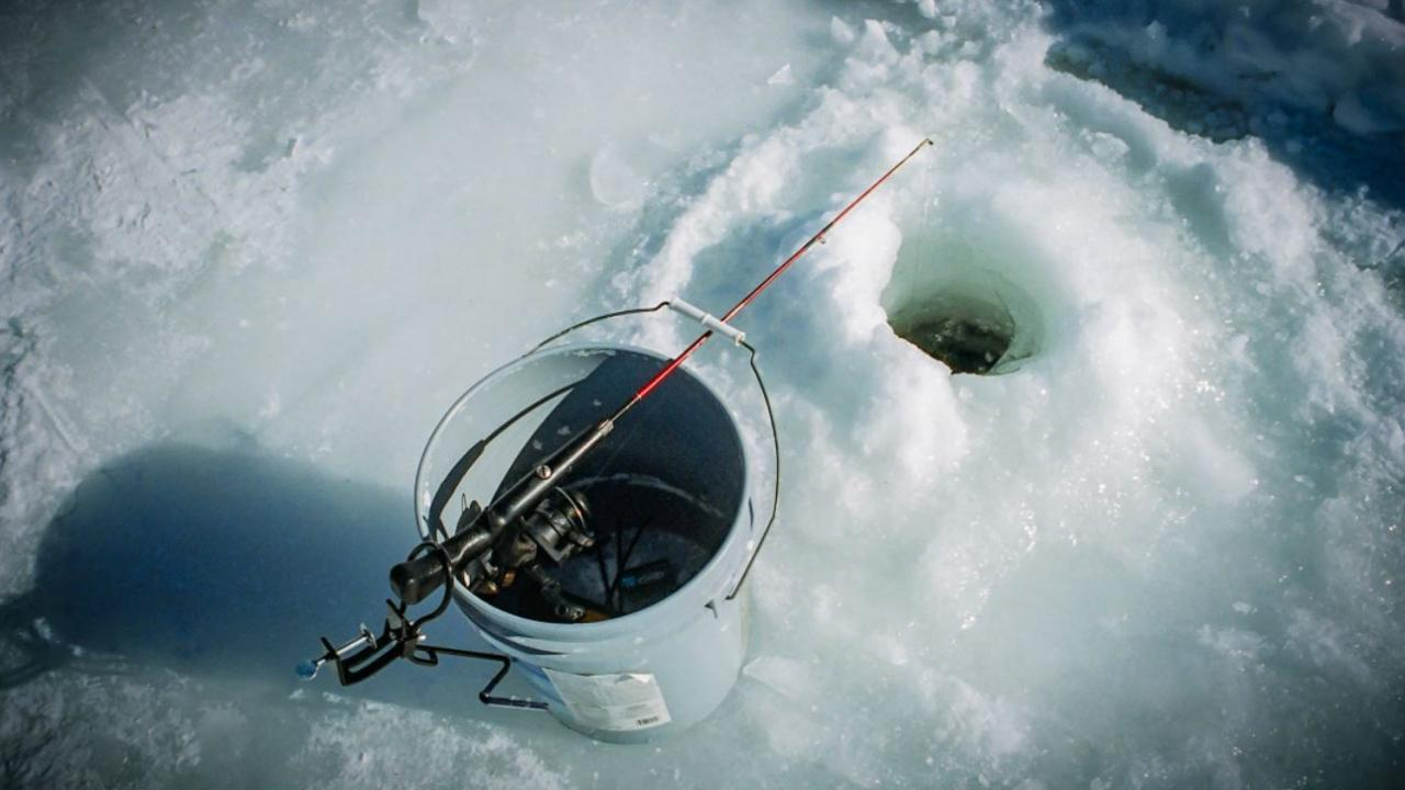 a hole in ice for fishing