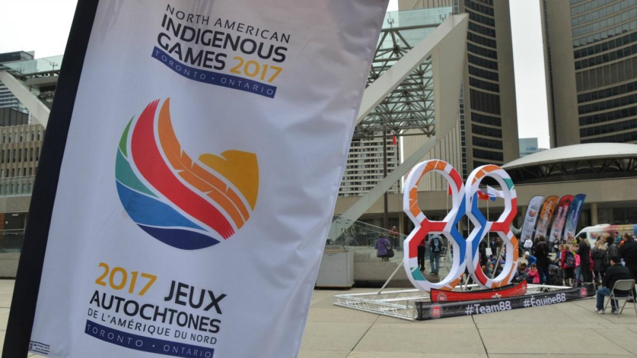 a banner advertising the North American Indigenous Games