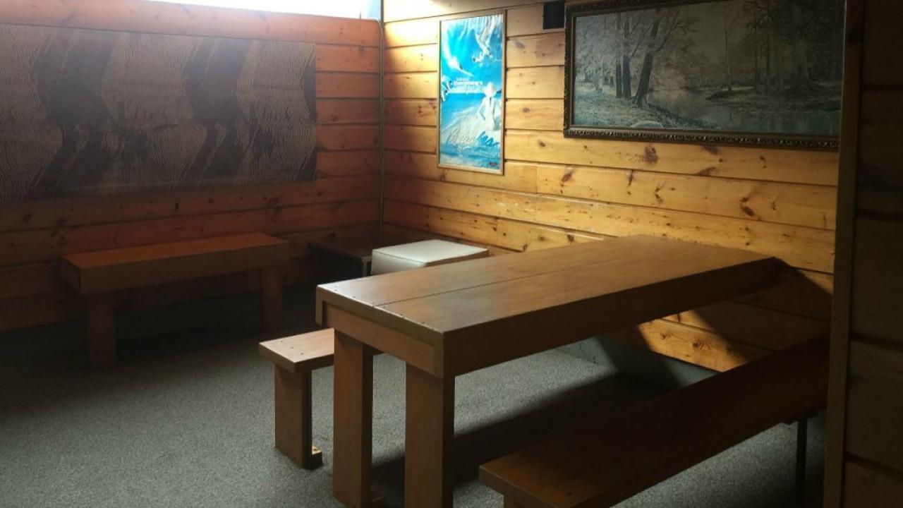 inside a sauna room