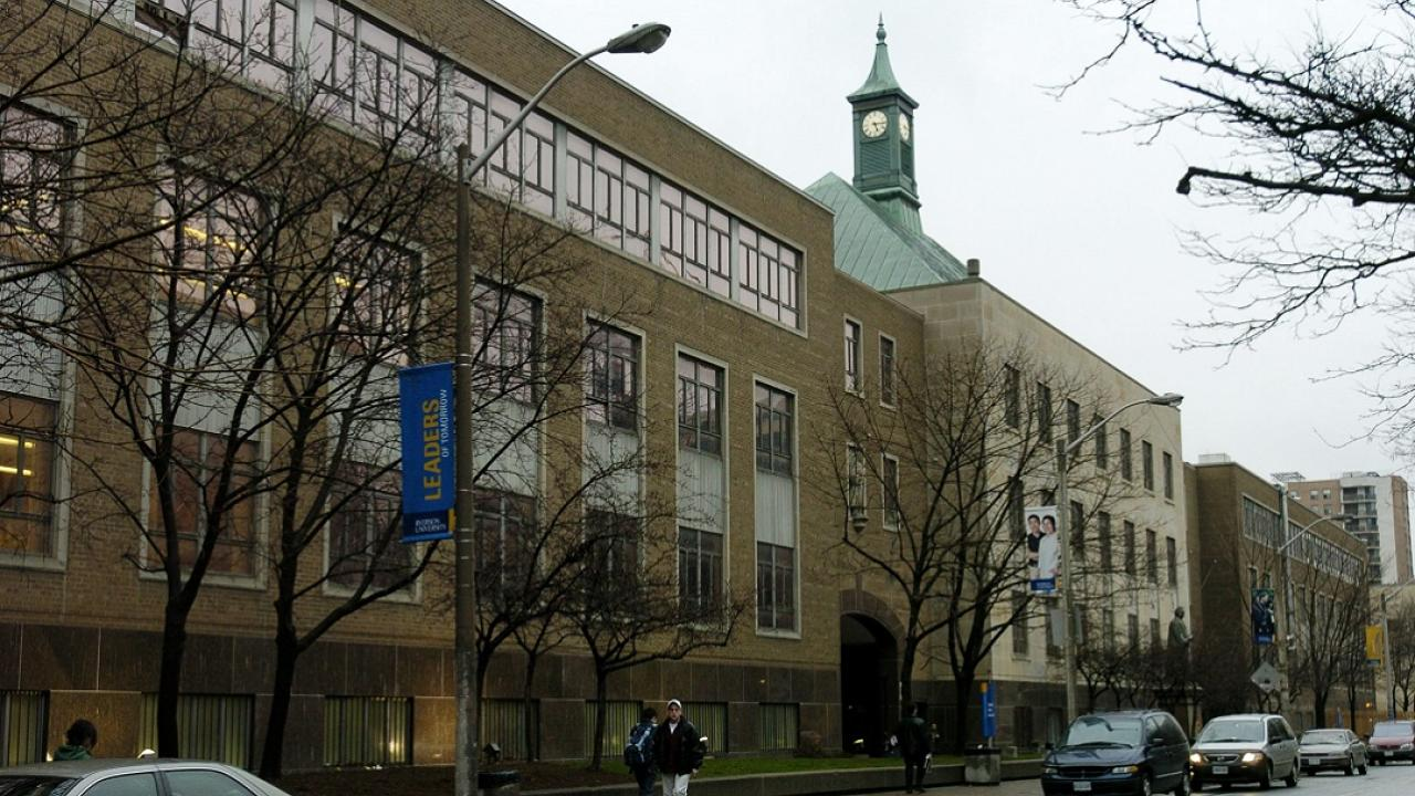 Exterior view of Kerr Hall at Ryerson University.