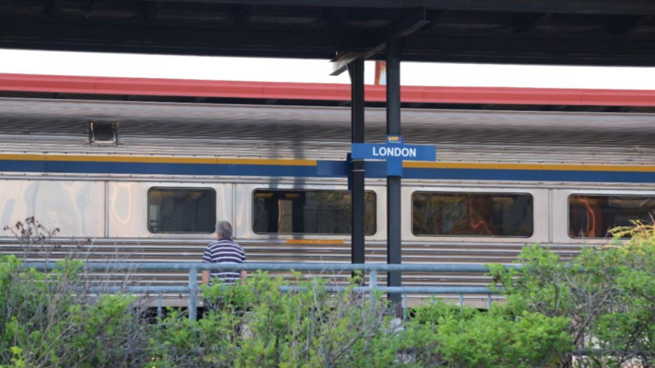 A person waits for the train in London, Ontario