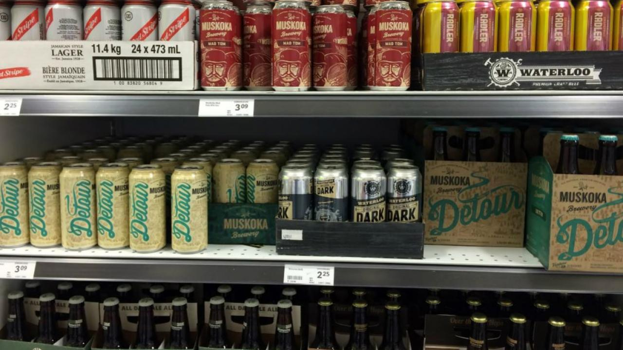 Ontario beer cans displayed in a grocery store