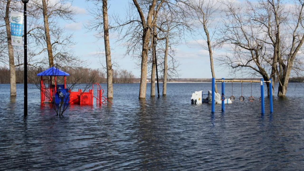 a playground covered in flood water