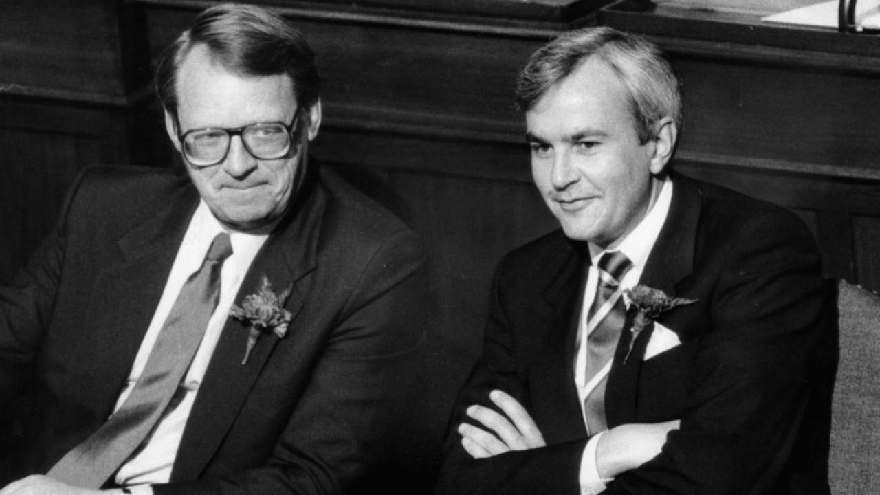 Former premier David Peterson with Robert Nixon