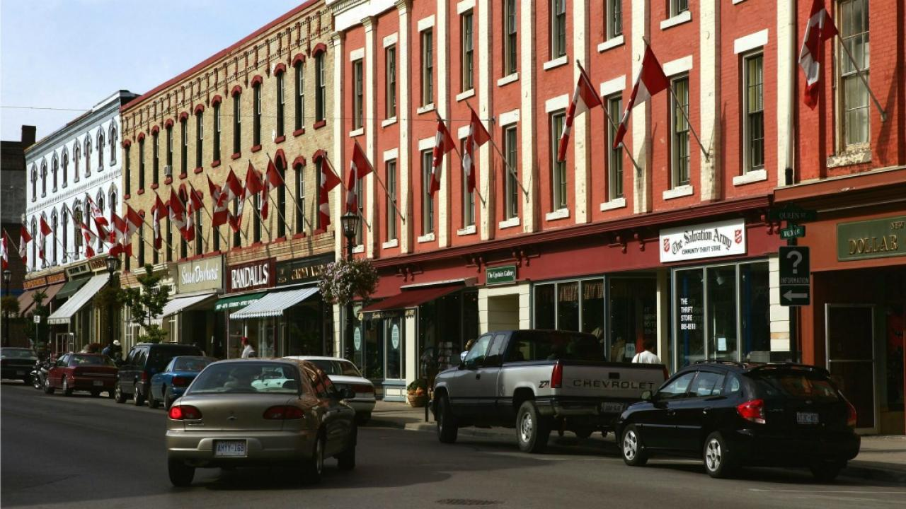 store fronts in downtown Port Hope, Ontario