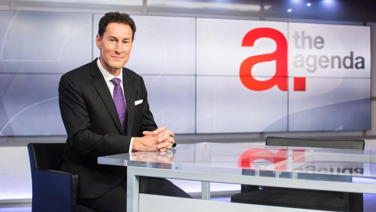 Steve Paikin on the set of The Agenda