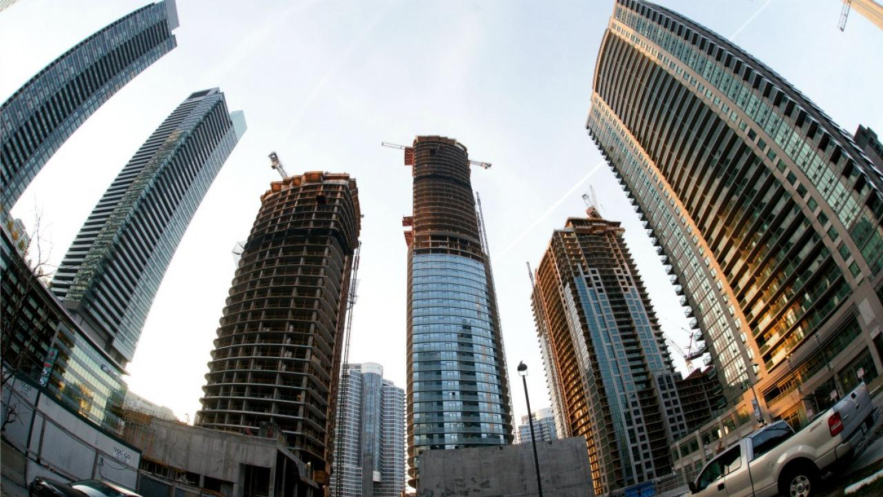 a number of tall condo buildings being constructed in Toronto