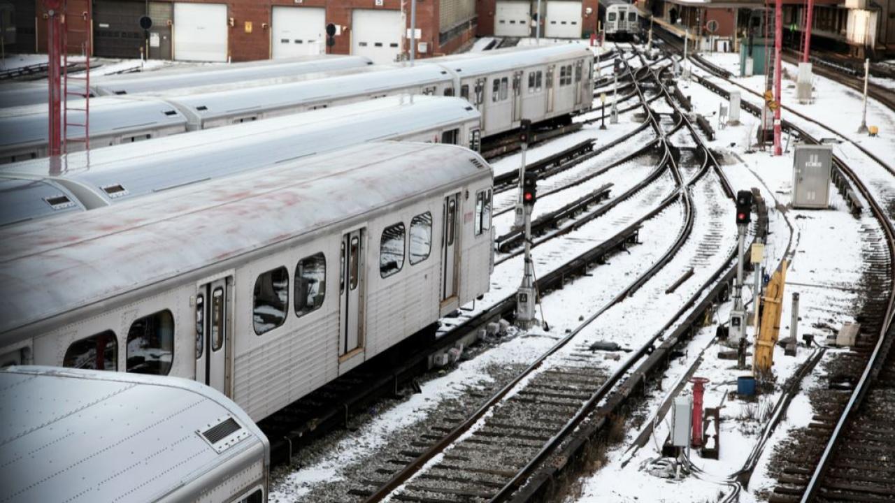 Toronto subway trains in winter