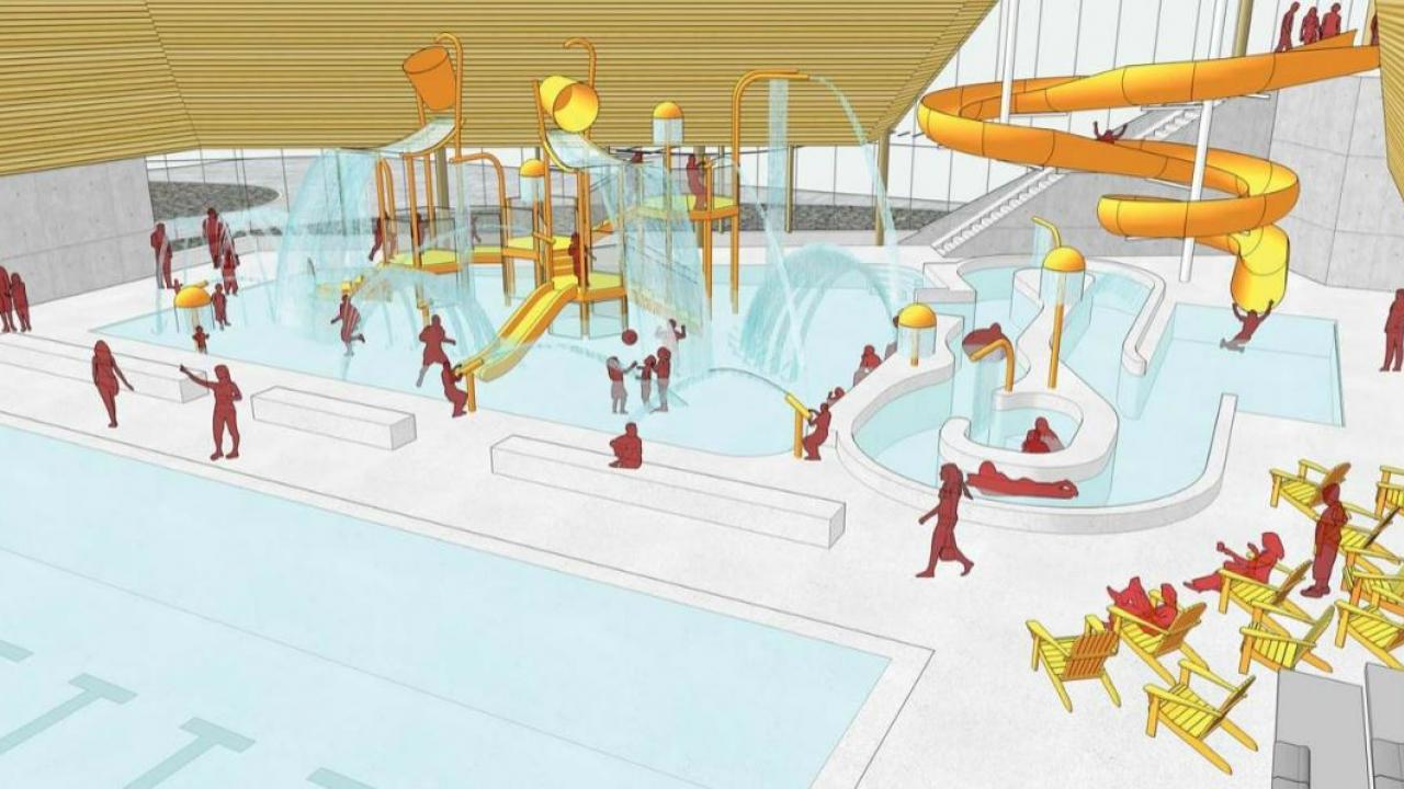 an artist rendering of a plan for a public pool in Timmins, Ontario