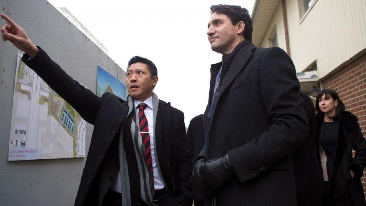 Prime Minister Justin Trudeau and Jason Chen, development director of Toronto Community Housing