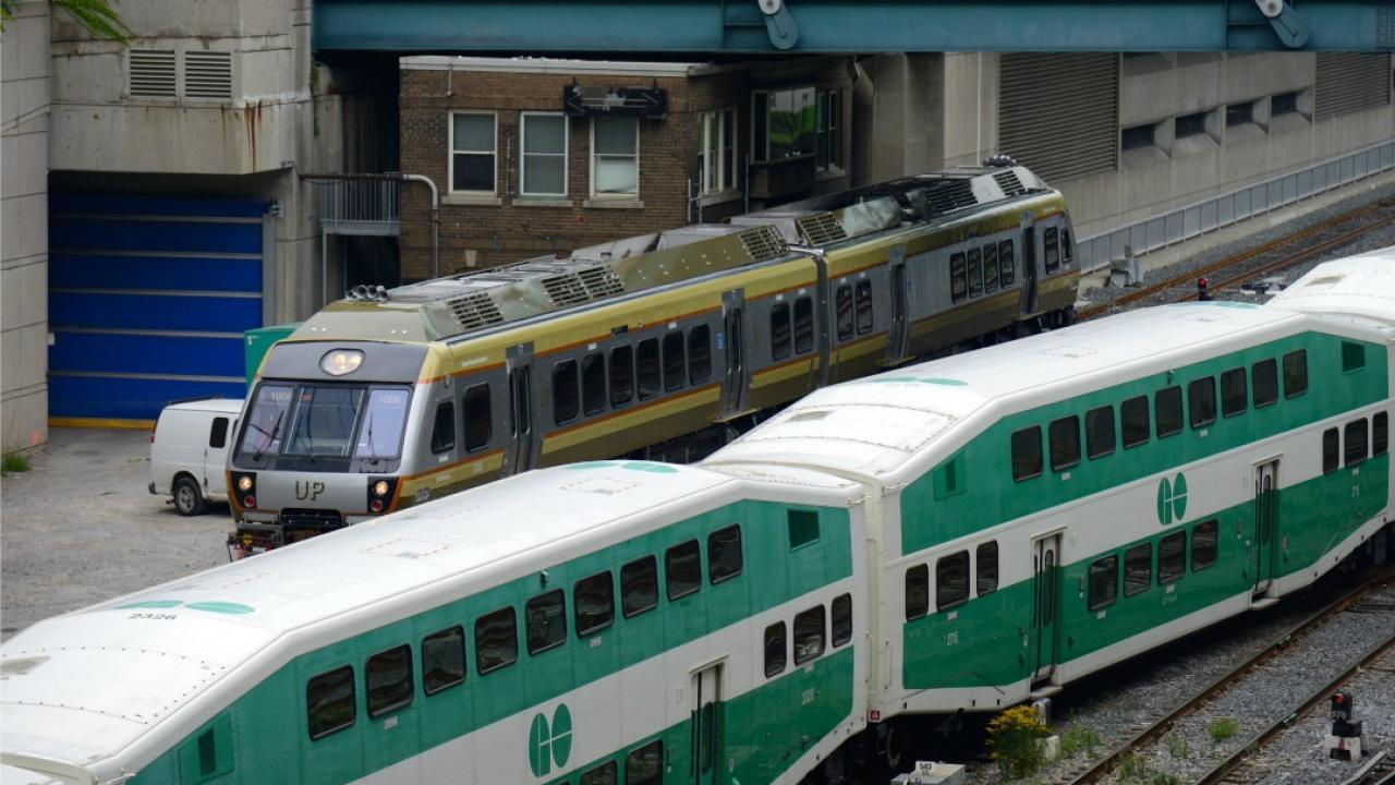 a Union Pearson express train and a Go Train