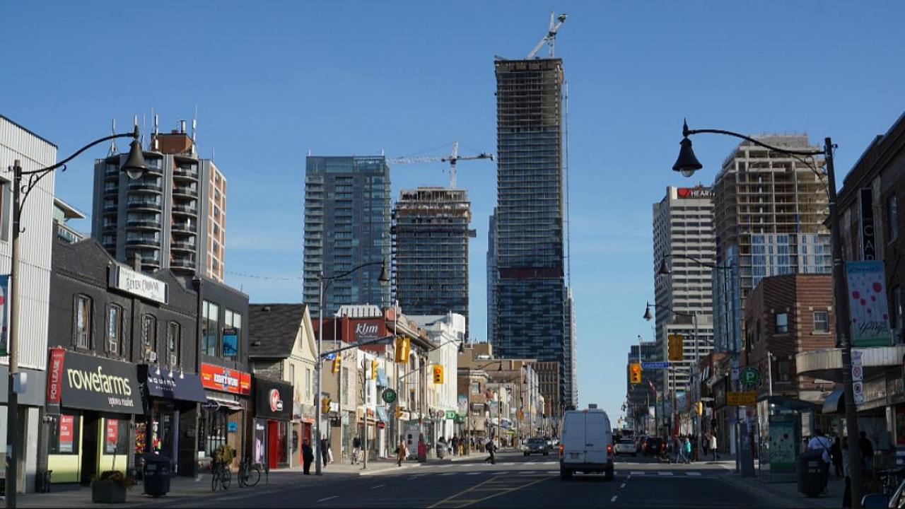 the Toronto intersection of Yonge and Eglinton, showing construction on high rises