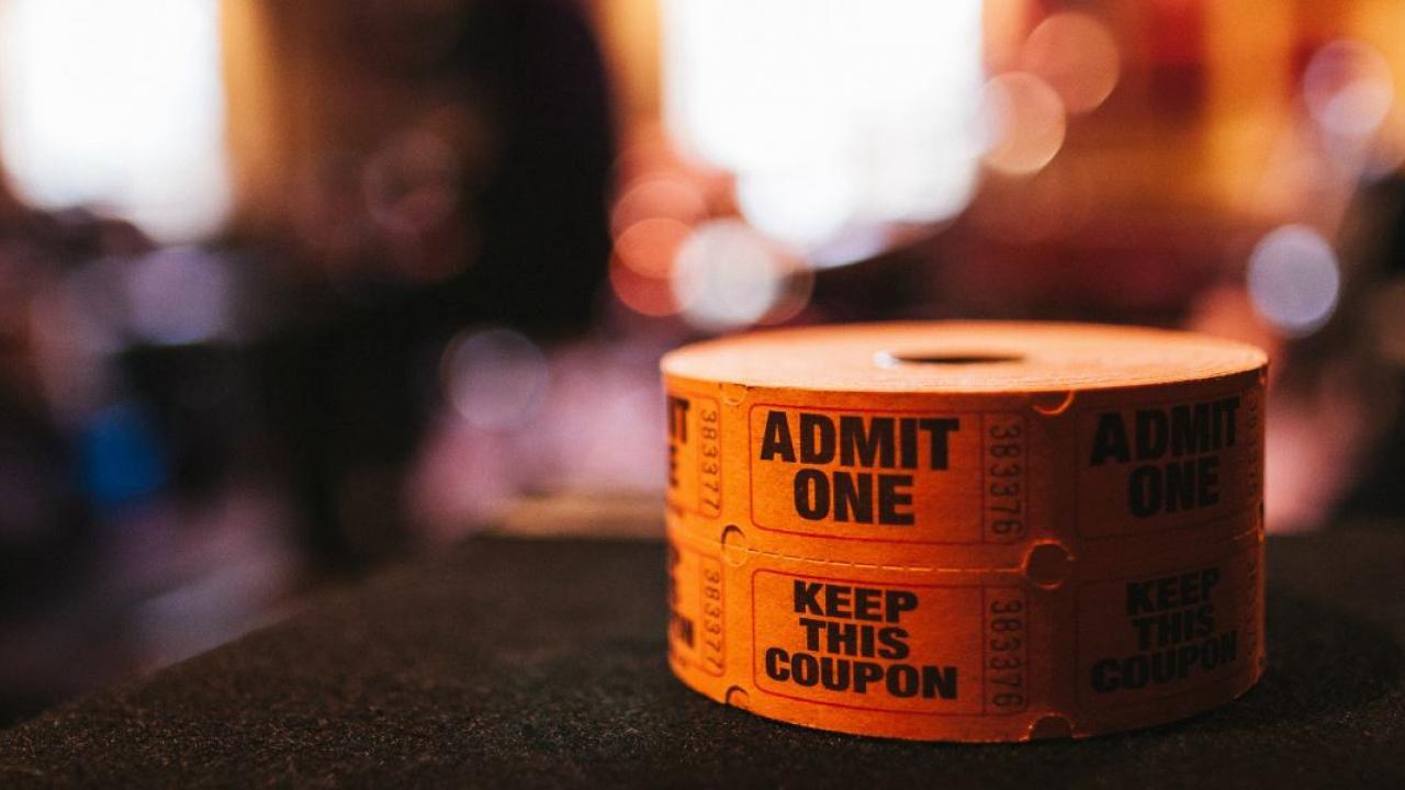 a spool of raffle tickets