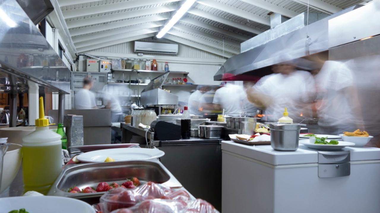 busy chefs in a restaurant kitchen