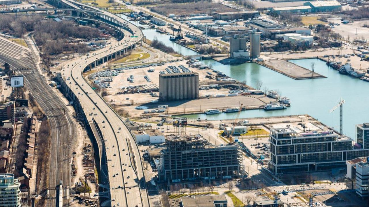 aerial view of the eastern waterfront in Toronto