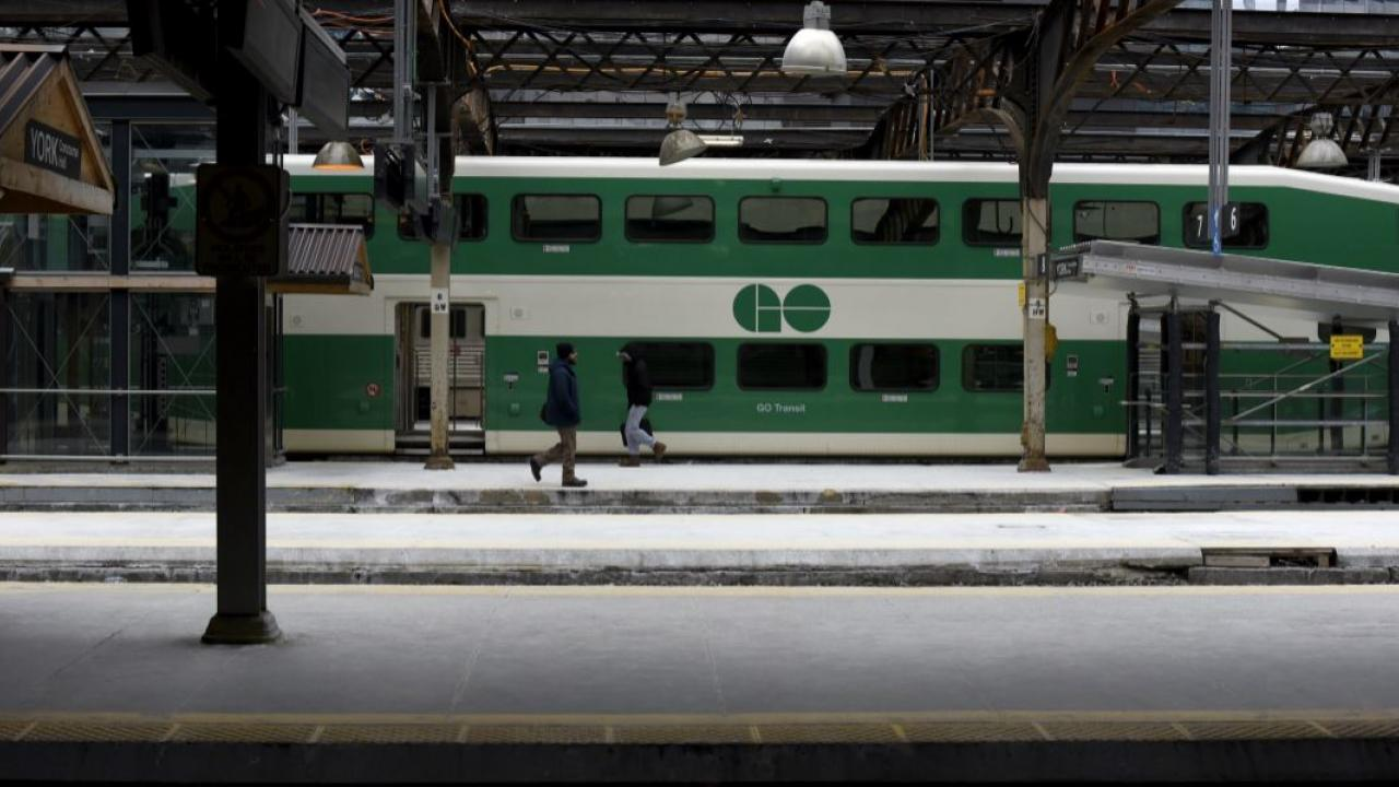 a Go Train on the track at Union Station in Toronto