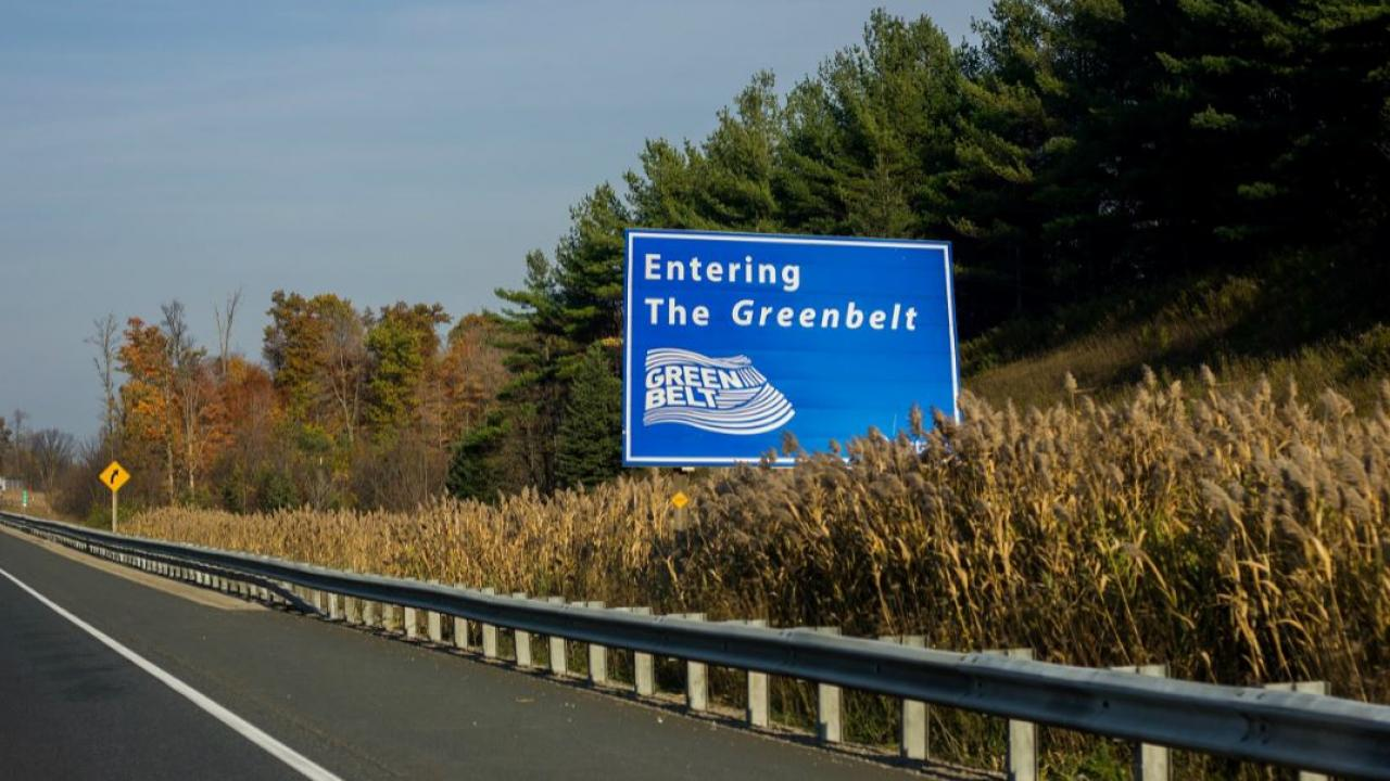 an Ontario highway sign saying: Entering the Greenbelt