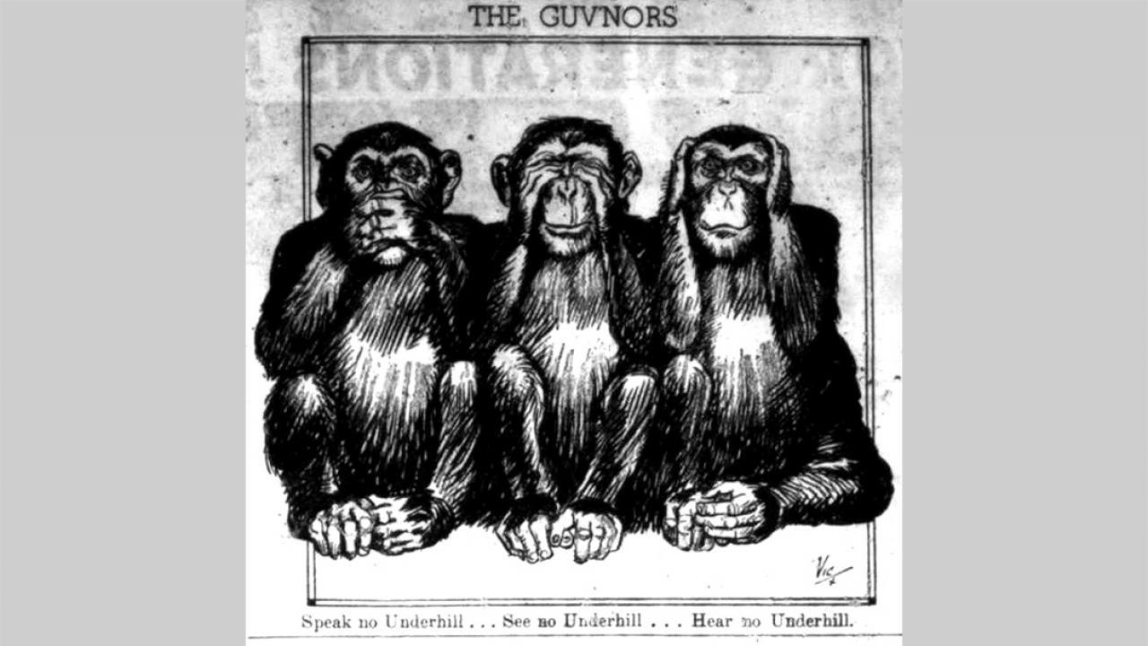 illustration of three monkeys, see no evil, speak no evil, hear no evil