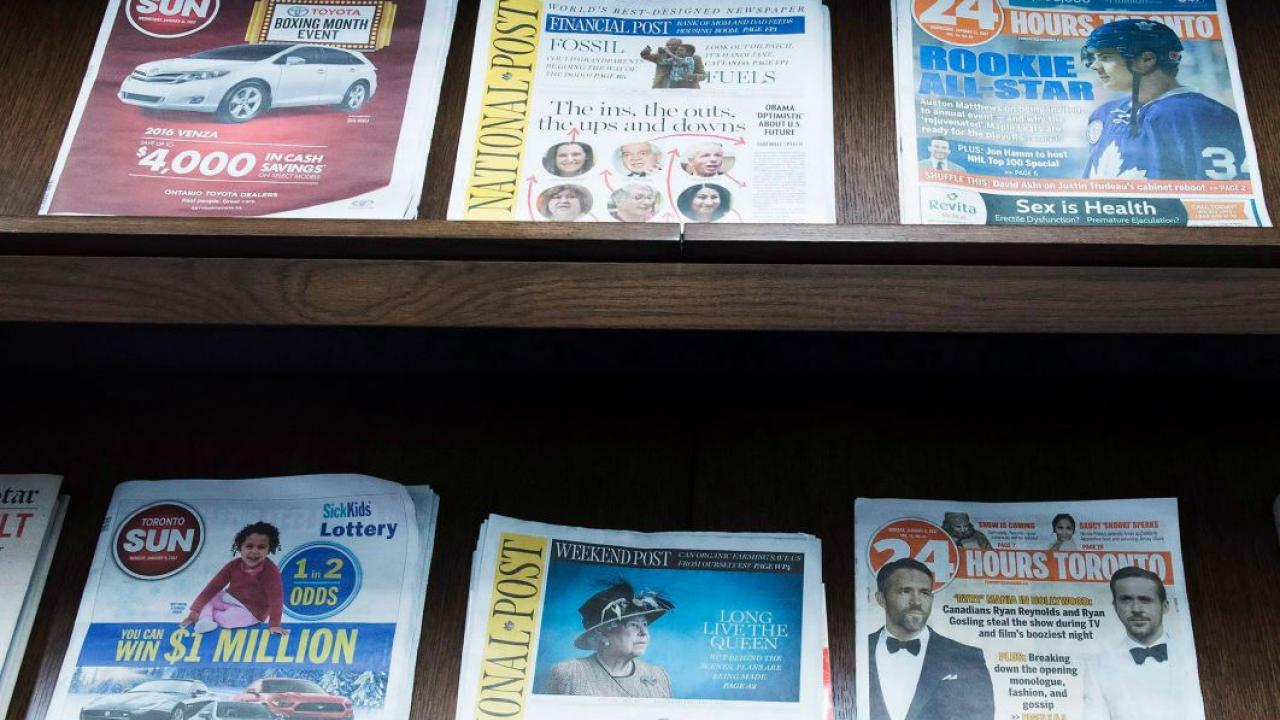 newspapers on display