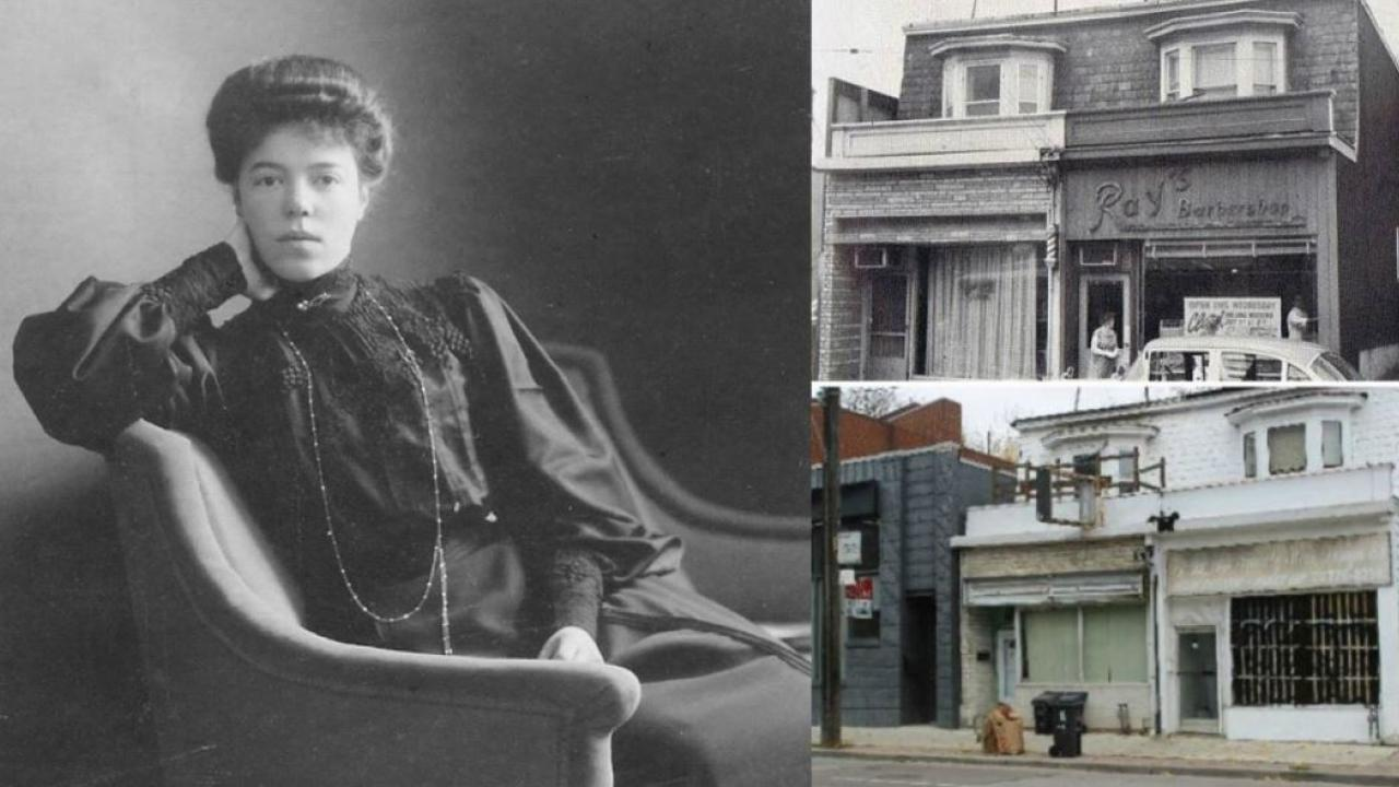 a woman sitting on a chair and two Toronto houses