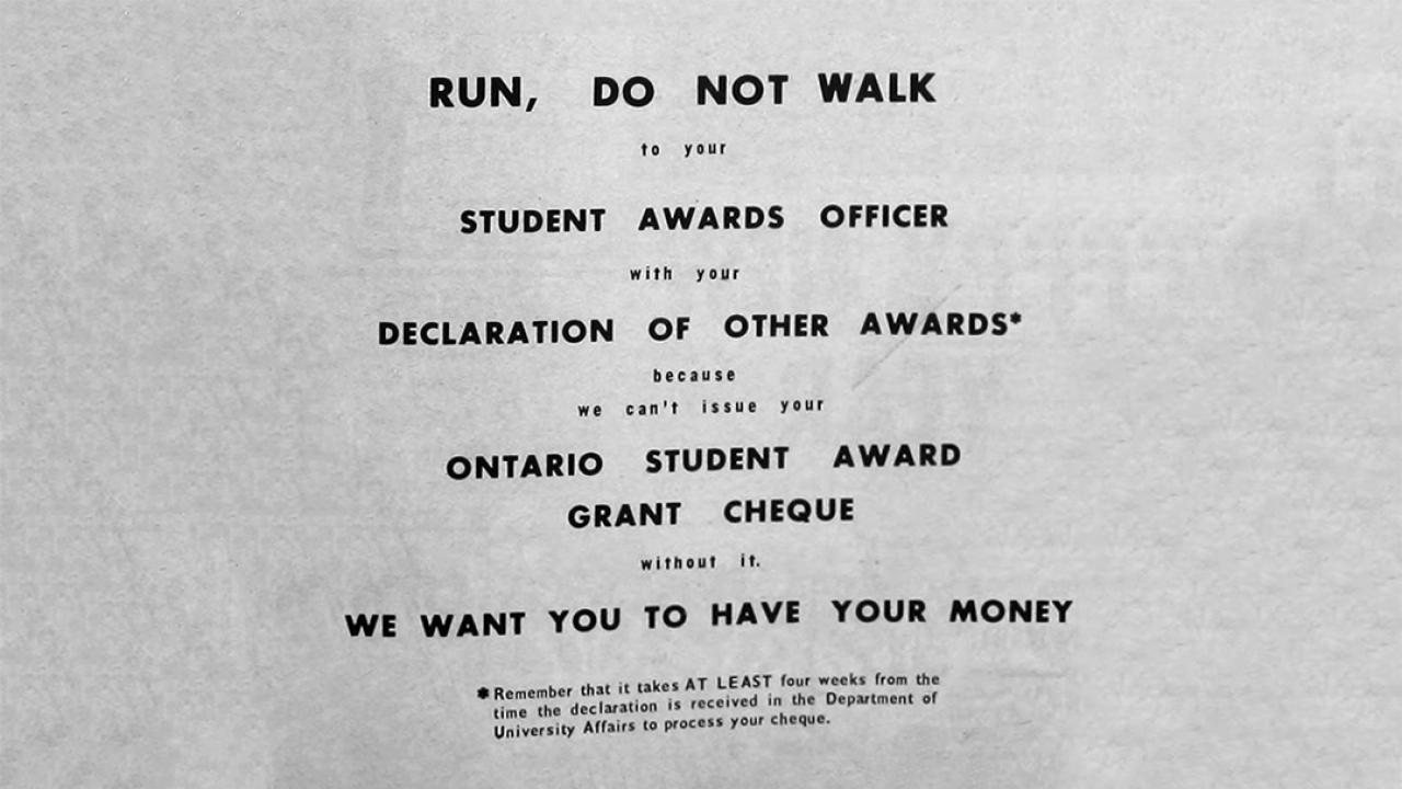 "an archival ad for education grants titled ""Run, don't walk"""