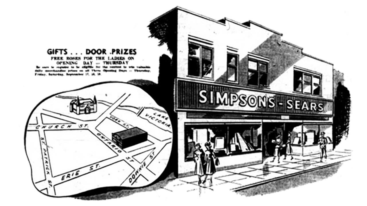 a sketch of a historic Sears retail store